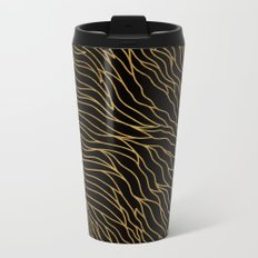 Gold Mermaid Waves on Black -Mix & Match with Simplicity of life Metal Travel Mug