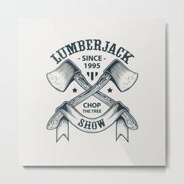 Lumberjack Axes Illustration Metal Print