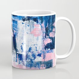 Abstract Acrylic - Navy, Blush Pink & White Coffee Mug
