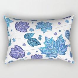 Autumn leaves pattern in blue Rectangular Pillow