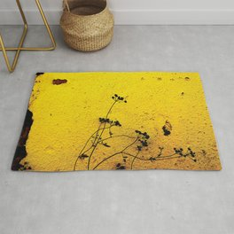 Minimal flora - Yellow wall and flowers Rug