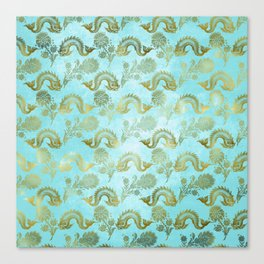 Mermaid Ocean Whale Friends - Teal And Gold Pattern Canvas Print