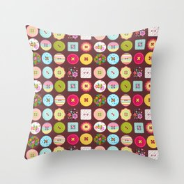 Sewing Buttons  Throw Pillow