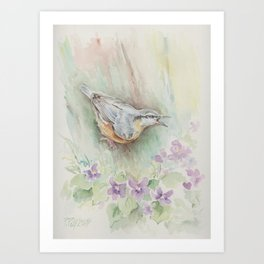 Nuthatch Wildlife watercolour painting Forest bird with flowers Nature painting Vegan Decor Art Print