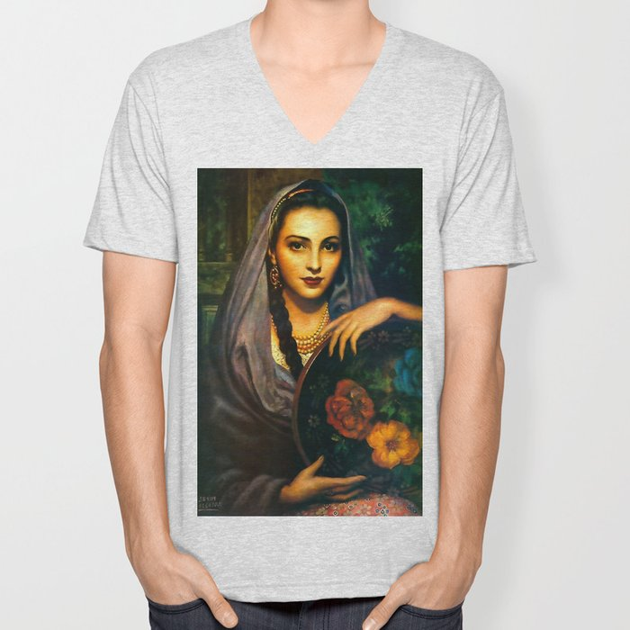 Jesus Helguera Painting of a Calendar Girl with Dark Shawl Unisex V-Neck