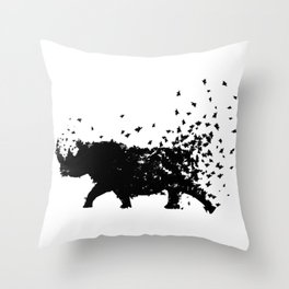 Save the Rhinos fading away Throw Pillow