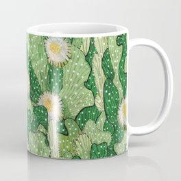Cacti Pattern, Green and White Coffee Mug
