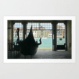Gondola on Giudecca Island, Grand Canal, Venice Art Print