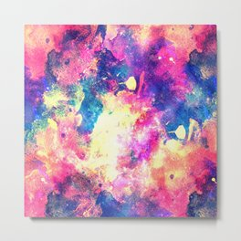 Colorful Watercolor Abstract background. Multicolor grunge psychedelic blue pink texture tie dye Metal Print