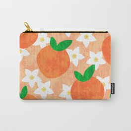 Tropical exotic oranges and white pretty orange blossoms fruity floral summer bright sunny light pastel peach color pattern design. Carry-All Pouch