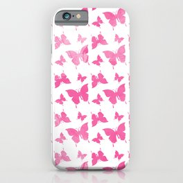 Vintage cute pink watercolor butterflies pattern iPhone Case