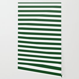 Jumbo Forest Green and White Rustic Horizontal Cabana Stripes Wallpaper