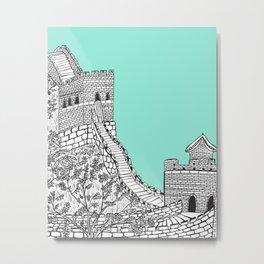 Great Wall of China (Mint Green) Metal Print