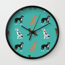 Great Danes mixed coats dog breed must have pure breed lovers Wall Clock