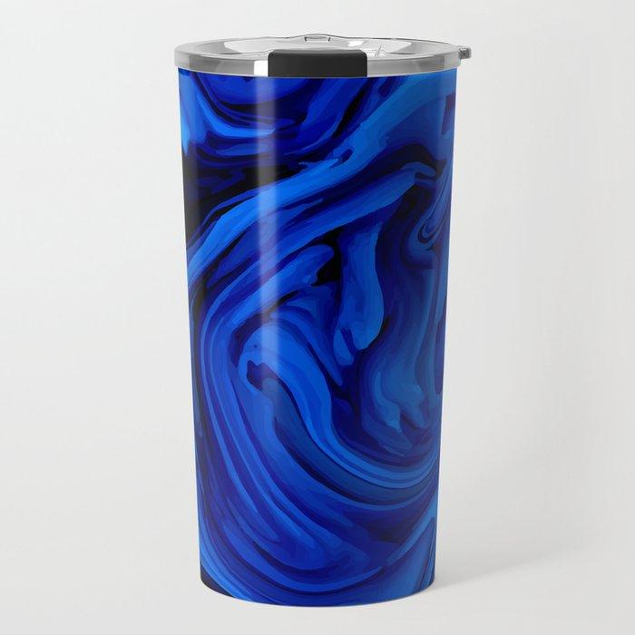 Blue Liquid Marbled texture Travel Mug