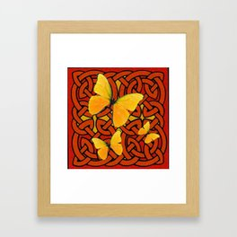 COFFEE BROWN YELLOW BUTTERFLIES CELTIC ART PATTERN  ART Framed Art Print