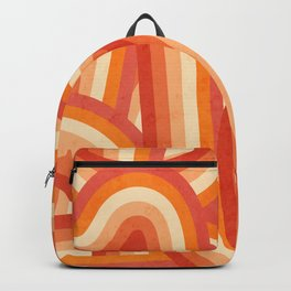 Red, Orange and Cream 70's Style Rainbow Stripes Backpack
