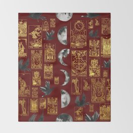 Beautiful Pagan Themed Print - Tarot Cards, Moon phases and ravens Throw Blanket