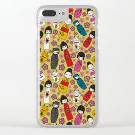 Mustard Kokeshi Dolls Clear iPhone Case