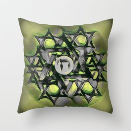 Chai Mandala - Green Throw Pillow