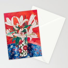 Blush Lily Bouquet on Orange Stationery Cards