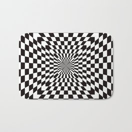 Checkered Optical Illusion Bath Mat