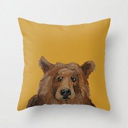 Bear on mustard Throw Pillow