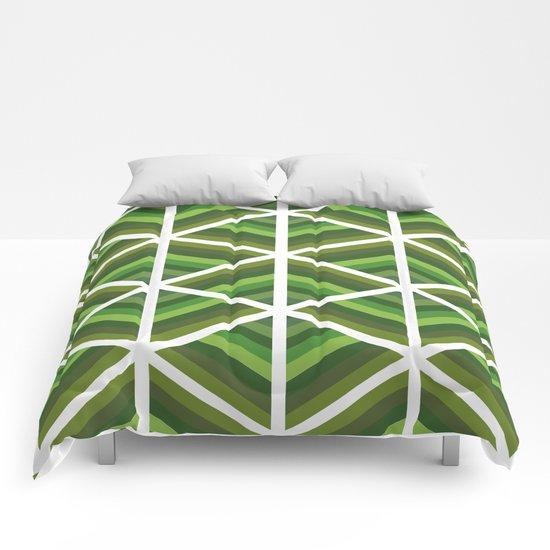 Green Stripe Triangles Comforters