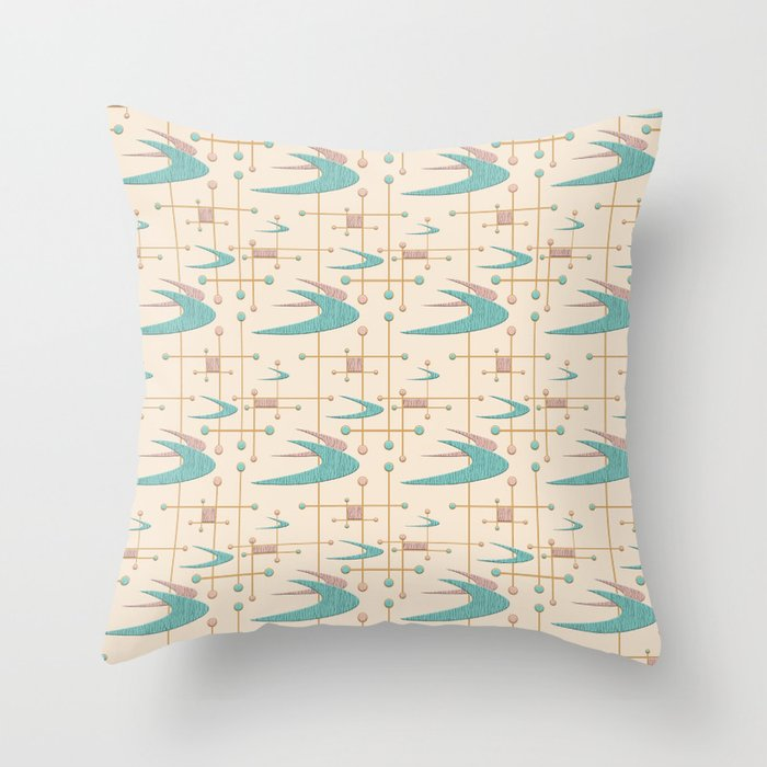 Mid Century Boomerangs In Textured Blush Pink And Blue Throw Pillow