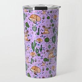 Cute Cactus and Fennec Fox Travel Mug