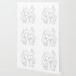 Minimal Line Art Summer Bouquet Wallpaper