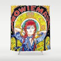 mucha Shower Curtains featuring BOWIEMAS 9 - Rebel Rebel / Alphonse Mucha - 2013 by reservenote