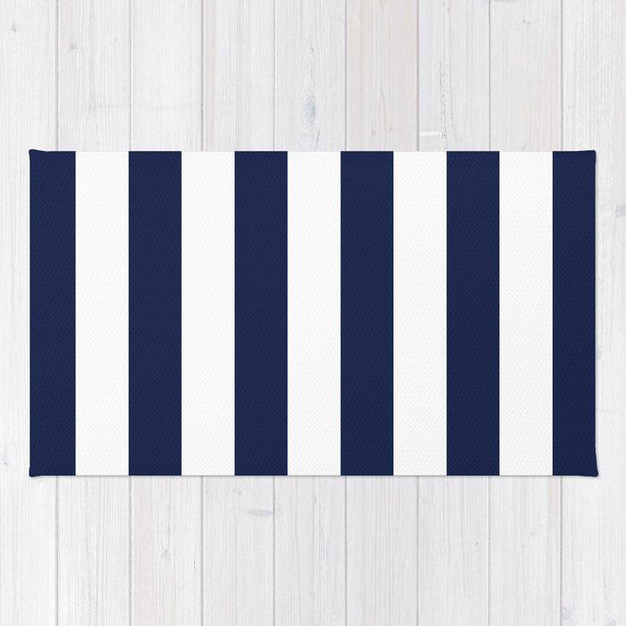Indigo Navy Blue Bold Stripes Rug by beautifulhomes Society6