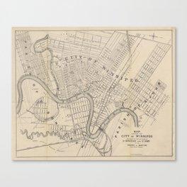 Vintage Map of Winnipeg Canada (1882) Canvas Print