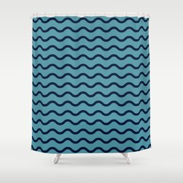 Simple Wave Lines Shower Curtain
