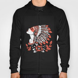 Indian cute lady, Hand drawn illustration of apache indian girl Hoody