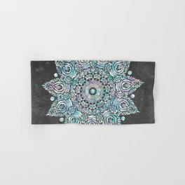 Mermaid Mandala on Deep Gray Hand & Bath Towel