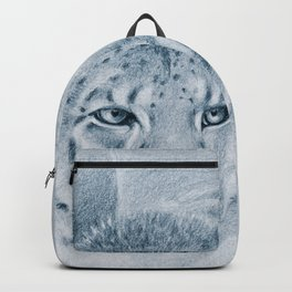 Snow Leopard Ghost Blue Drawing Backpack