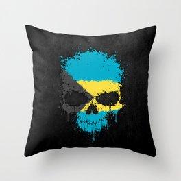 Flag of Bahamas on a Chaotic Splatter Skull Throw Pillow
