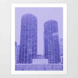 Marina Towers - Chicago - Purple Art Print