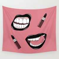 lipstick Wall Tapestries featuring Black Lipstick by shoooes