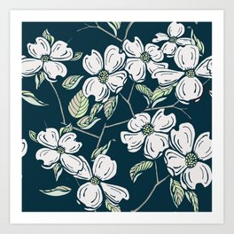 Dogwod Floral on Blue Grey Art Print