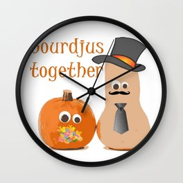 Gourdjus Together Cute Just Married Wedding Vector Wall Clock