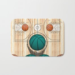 Colorful Green basketballs on a Basketball Court Bath Mat