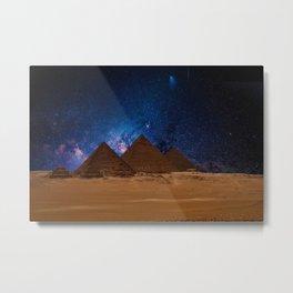 Great Giza Egyptian Pyramids of Menkaure, Khafre and Khufu under Stars Metal Print