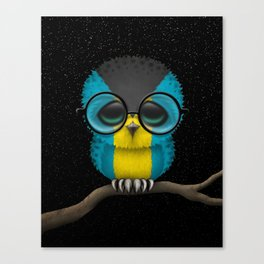 Baby Owl with Glasses and Bahamas Flag Canvas Print