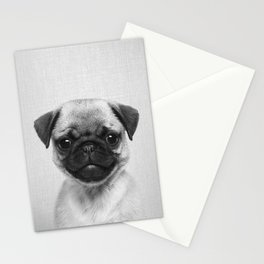 Pug Puppy - Black & White Stationery Cards
