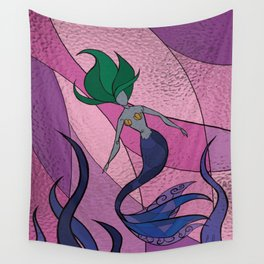 Mermaid Stained Glass (Royal) Wall Tapestry