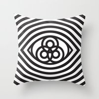 third eye Throw Pillows featuring Third Eye by cmyka