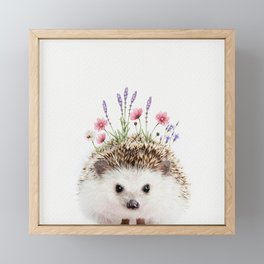 Hedgehog with Flower Crown Framed Mini Art Print